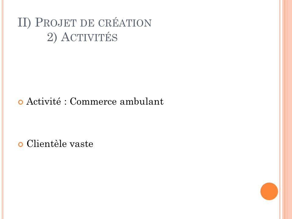 II) P ROJET DE CRÉATION 2) A CTIVITÉS Activité : Commerce ambulant Clientèle vaste