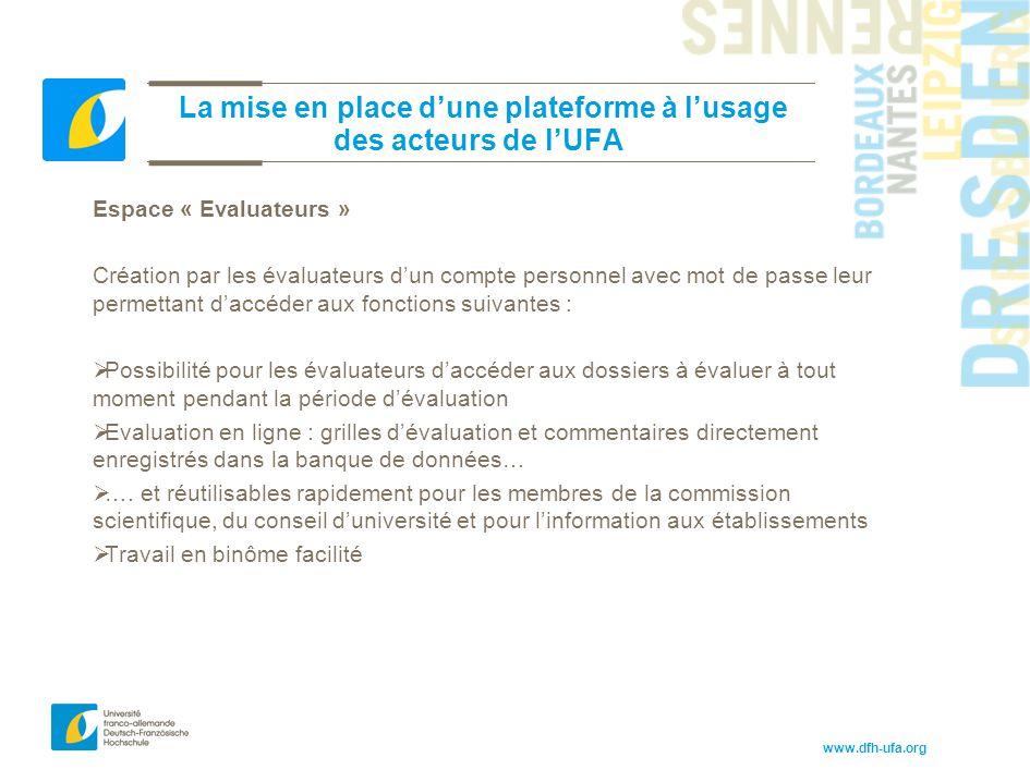 www.dfh-ufa.org La mise en place d'une plateforme à l'usage des acteurs de l'UFA Espace « Evaluateurs » Création par les évaluateurs d'un compte perso