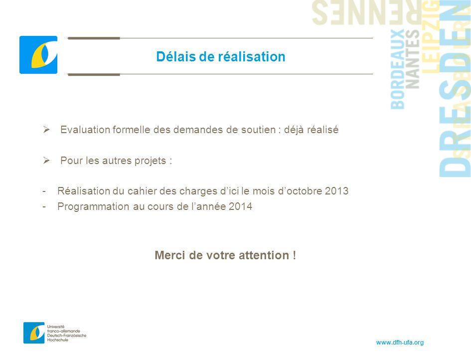 www.dfh-ufa.org Délais de réalisation  Evaluation formelle des demandes de soutien : déjà réalisé  Pour les autres projets : -Réalisation du cahier
