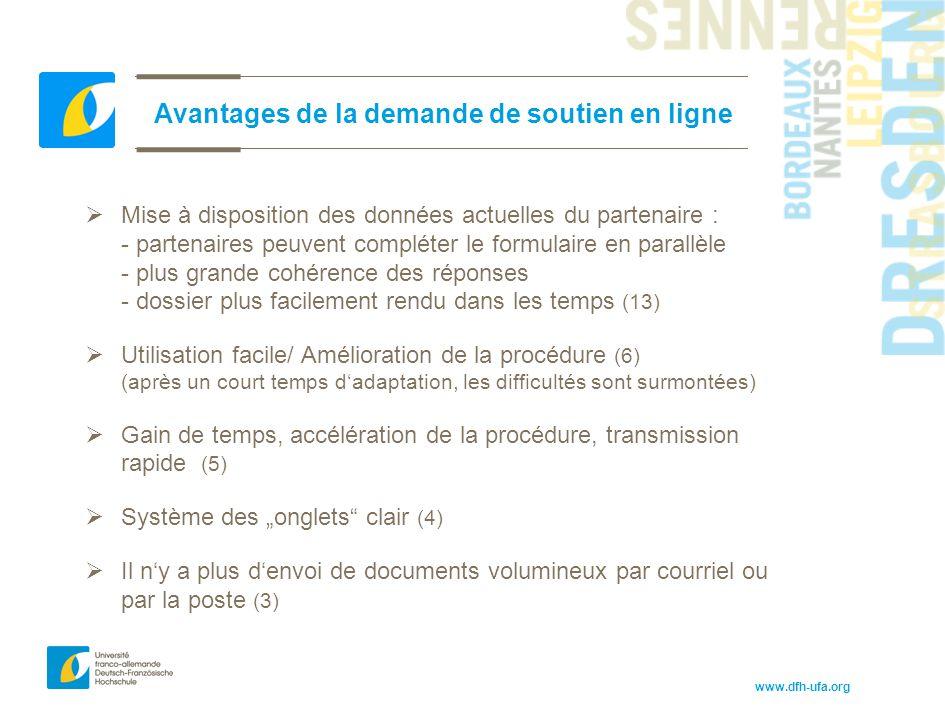 www.dfh-ufa.org Avantages de la demande de soutien en ligne  Mise à disposition des données actuelles du partenaire : - partenaires peuvent compléter