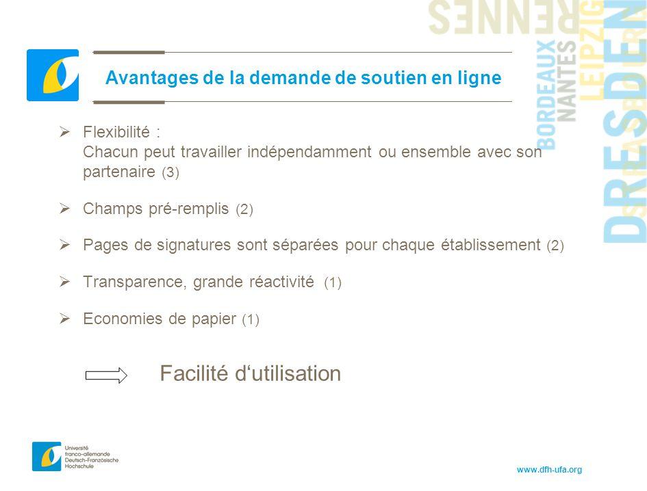 www.dfh-ufa.org Avantages de la demande de soutien en ligne  Flexibilité : Chacun peut travailler indépendamment ou ensemble avec son partenaire (3)