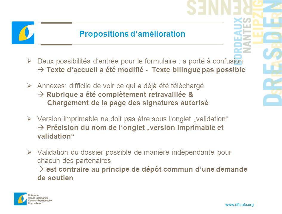 www.dfh-ufa.org Propositions d'amélioration  Deux possibilités d'entrée pour le formulaire : a porté à confusion  Texte d'accueil a été modifié - Te