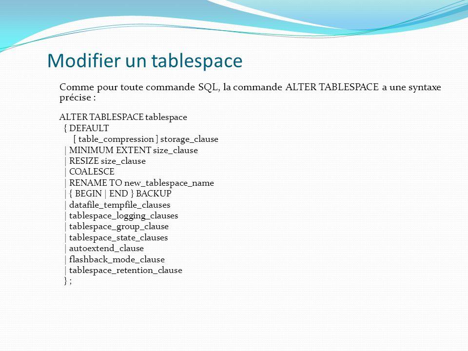Modifier un tablespace Comme pour toute commande SQL, la commande ALTER TABLESPACE a une syntaxe précise : ALTER TABLESPACE tablespace { DEFAULT [ table_compression ] storage_clause | MINIMUM EXTENT size_clause | RESIZE size_clause | COALESCE | RENAME TO new_tablespace_name | { BEGIN | END } BACKUP | datafile_tempfile_clauses | tablespace_logging_clauses | tablespace_group_clause | tablespace_state_clauses | autoextend_clause | flashback_mode_clause | tablespace_retention_clause } ;