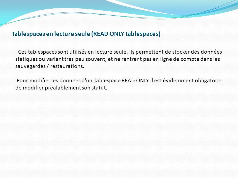 Tablespaces en lecture seule (READ ONLY tablespaces) Ces tablespaces sont utilisés en lecture seule.