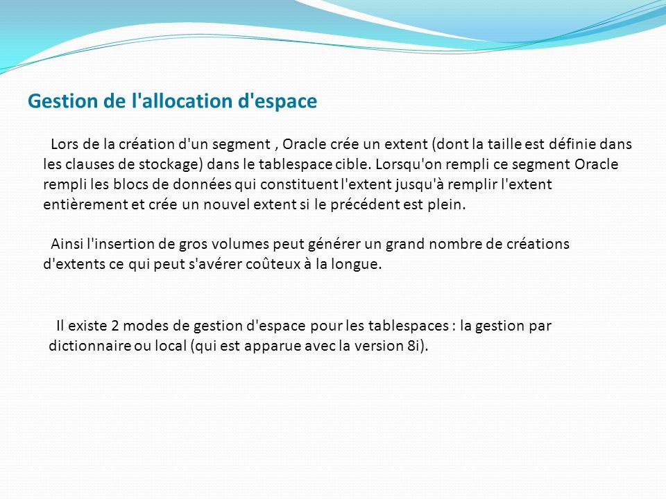 Supprimer des tablespaces (1)