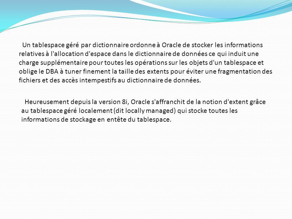 Supprimer des tablespaces (2) Syntaxe: DROP TABLESPACE; Remarques: les pointeurs du fichier de contrôle de la base de données associée sont supprimés.