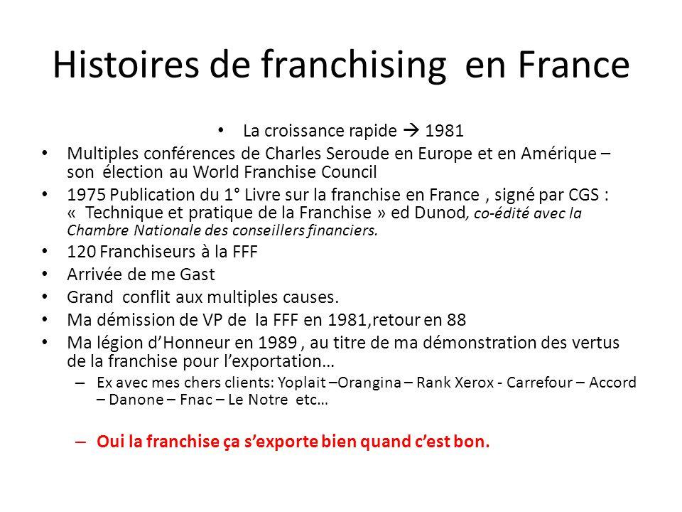 Histoires de franchising en France La croissance rapide  1981 Multiples conférences de Charles Seroude en Europe et en Amérique – son élection au Wor