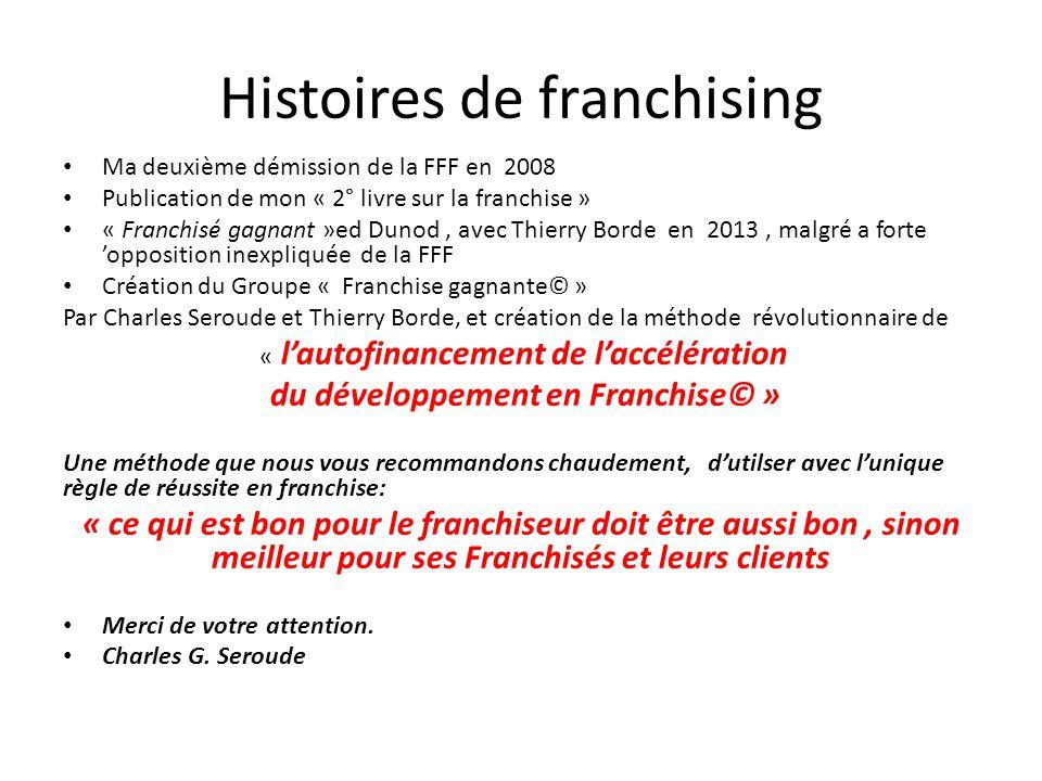 Histoires de franchising Ma deuxième démission de la FFF en 2008 Publication de mon « 2° livre sur la franchise » « Franchisé gagnant »ed Dunod, avec