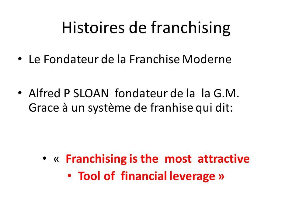 Histoires de franchising Le Fondateur de la Franchise Moderne Alfred P SLOAN fondateur de la la G.M. Grace à un système de franhise qui dit: « Franchi
