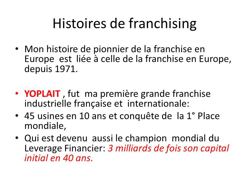 Histoires de franchising Mon histoire de pionnier de la franchise en Europe est liée à celle de la franchise en Europe, depuis 1971. YOPLAIT, fut ma p
