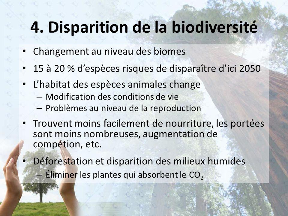 Changement au niveau des biomes 15 à 20 % d'espèces risques de disparaître d'ici 2050 L'habitat des espèces animales change – Modification des conditions de vie – Problèmes au niveau de la reproduction Trouvent moins facilement de nourriture, les portées sont moins nombreuses, augmentation de compétion, etc.
