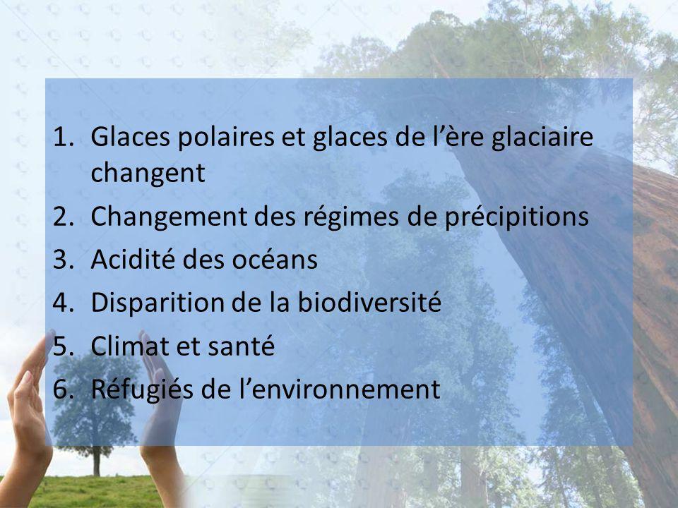 1.Glaces polaires et glaces de l'ère glaciaire changent 2.Changement des régimes de précipitions 3.Acidité des océans 4.Disparition de la biodiversité 5.Climat et santé 6.Réfugiés de l'environnement