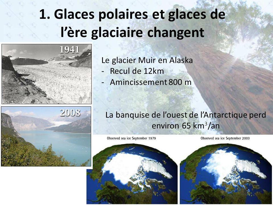 1. Glaces polaires et glaces de l'ère glaciaire changent Le glacier Muir en Alaska -Recul de 12km -Amincissement 800 m La banquise de l'ouest de l'Ant
