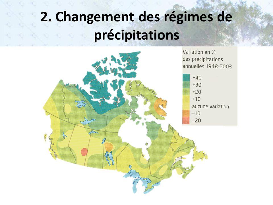 La chaleur n'est plus répartie de la même façon – Vents changent = précipitations changent Augmentation de l'évaporation a)Désertification et sécheresse b)Intensité et la fréquence des tempêtes