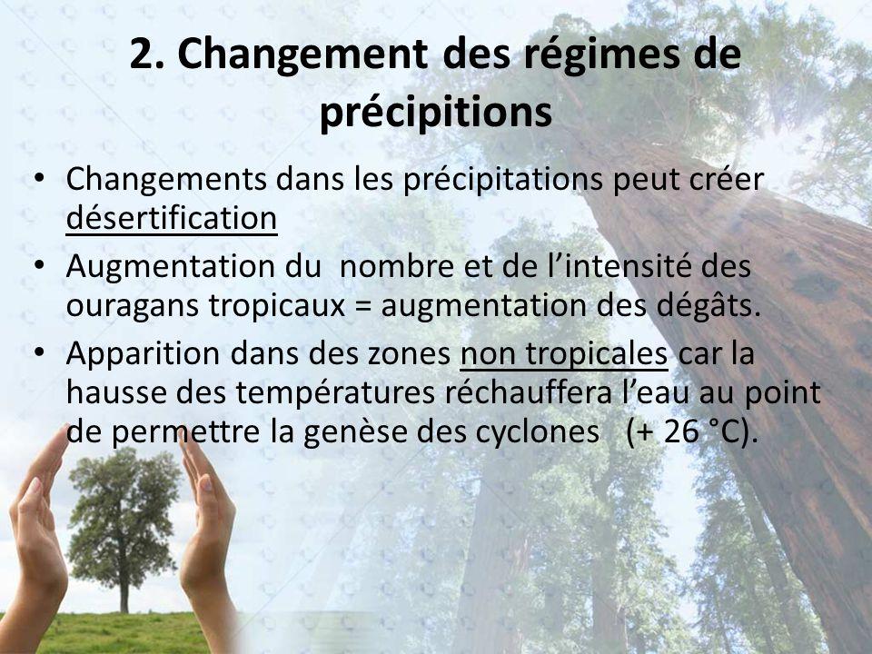 2. Changement des régimes de précipitions Changements dans les précipitations peut créer désertification Augmentation du nombre et de l'intensité des