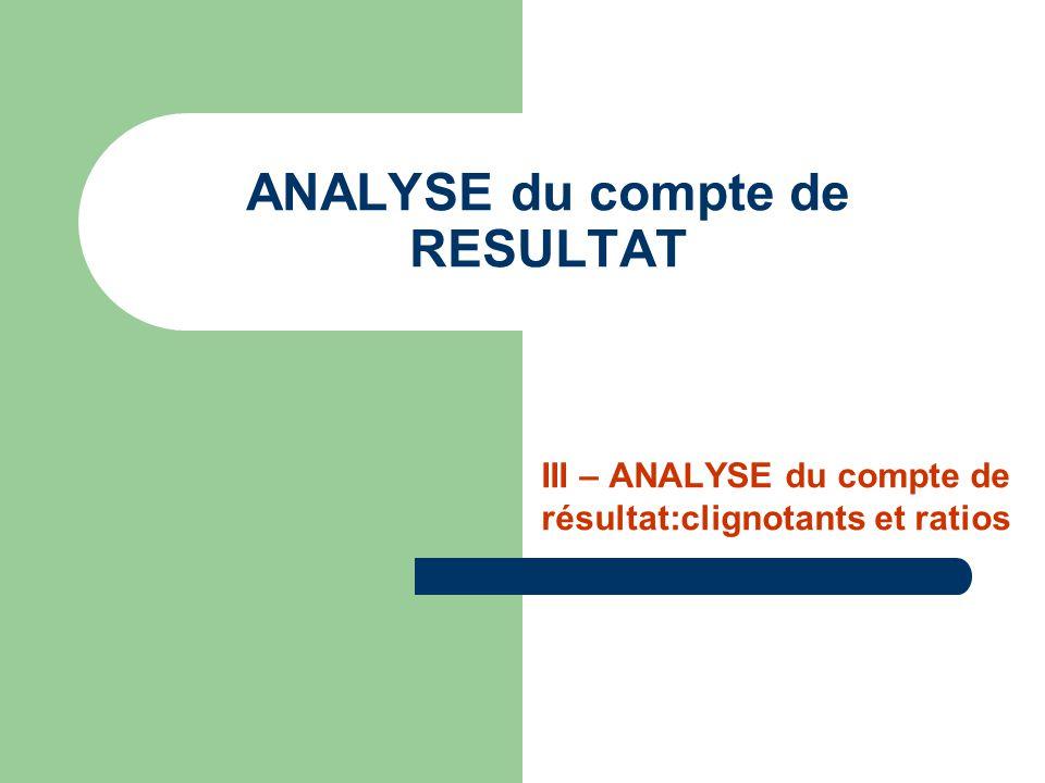 ANALYSE du compte de RESULTAT III – ANALYSE du compte de résultat:clignotants et ratios