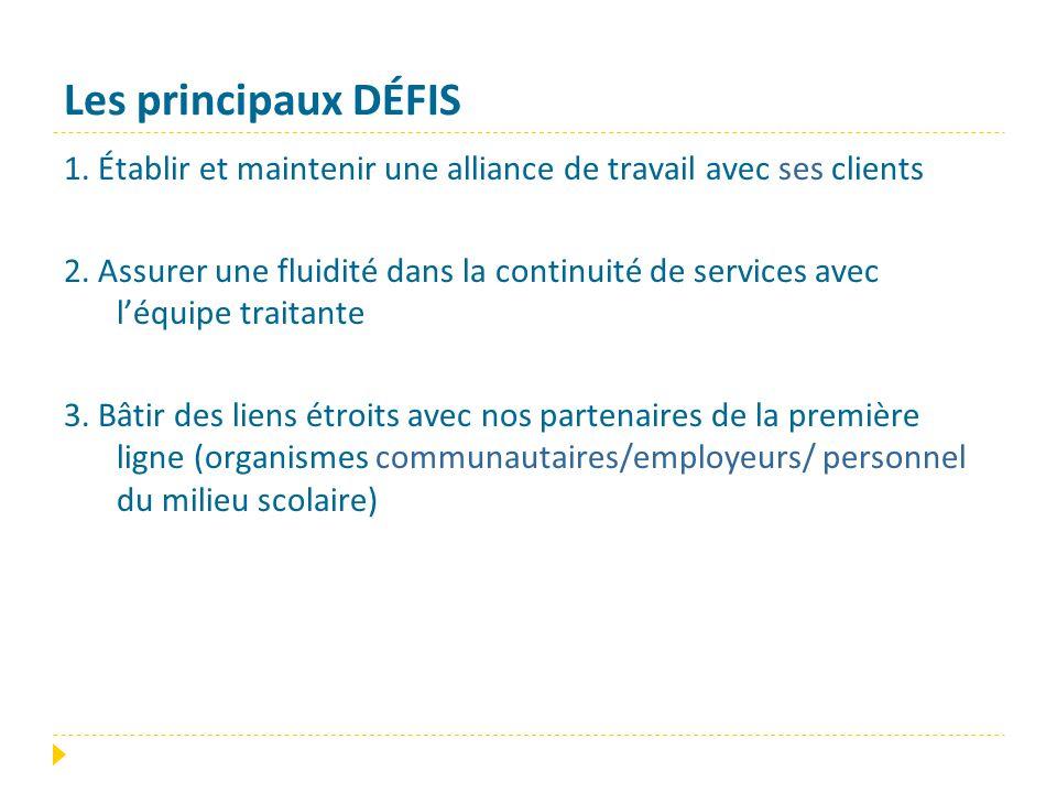 Les principaux DÉFIS 1. Établir et maintenir une alliance de travail avec ses clients 2. Assurer une fluidité dans la continuité de services avec l'éq