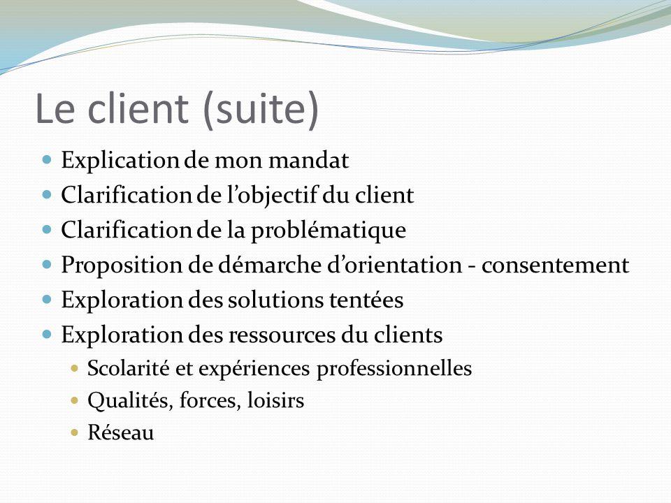 Le client (suite) Explication de mon mandat Clarification de l'objectif du client Clarification de la problématique Proposition de démarche d'orientat