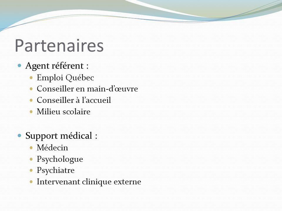 Partenaires Agent référent : Emploi Québec Conseiller en main-d'œuvre Conseiller à l'accueil Milieu scolaire Support médical : Médecin Psychologue Psy