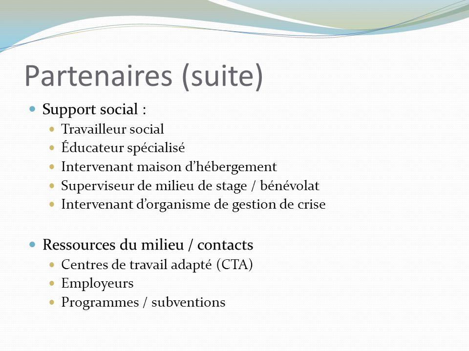 Partenaires (suite) Support social : Travailleur social Éducateur spécialisé Intervenant maison d'hébergement Superviseur de milieu de stage / bénévol