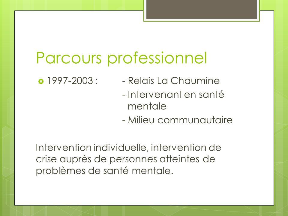 Parcours professionnel  1997-2003 :- Relais La Chaumine - Intervenant en santé mentale - Milieu communautaire Intervention individuelle, intervention