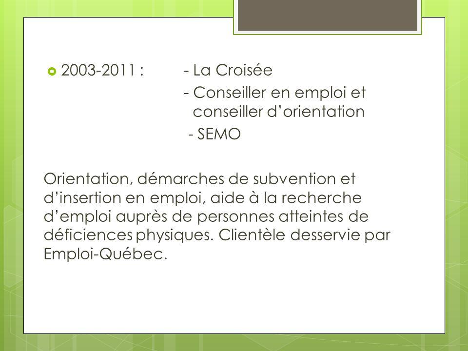  2003-2011 : - La Croisée - Conseiller en emploi et conseiller d'orientation - SEMO Orientation, démarches de subvention et d'insertion en emploi, ai