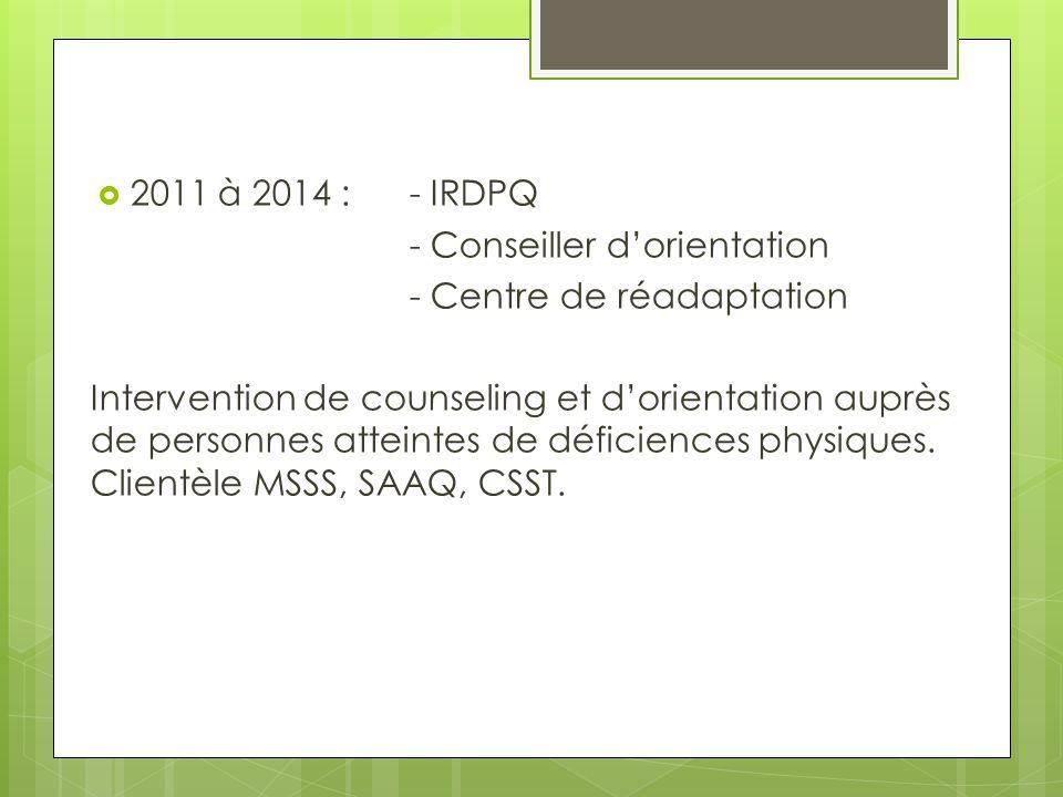  Depuis 2013 :- Pratique privée - Conseiller d'orientation et consultant en réadaptation professionnelle Clientèle majoritairement référée par la SAAQ et par CanVet (anciens combattants).