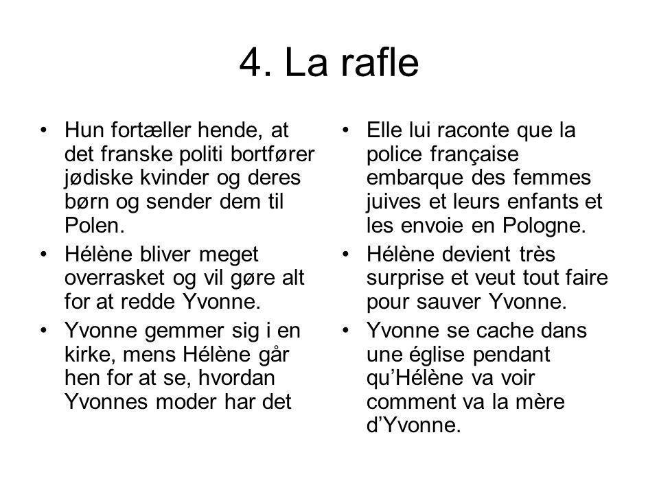 4. La rafle Hun fortæller hende, at det franske politi bortfører jødiske kvinder og deres børn og sender dem til Polen. Hélène bliver meget overrasket