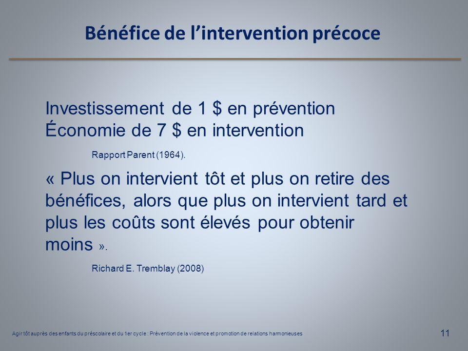 Agir tôt auprès des enfants du préscolaire et du 1er cycle : Prévention de la violence et promotion de relations harmonieuses 11 Bénéfice de l'interve