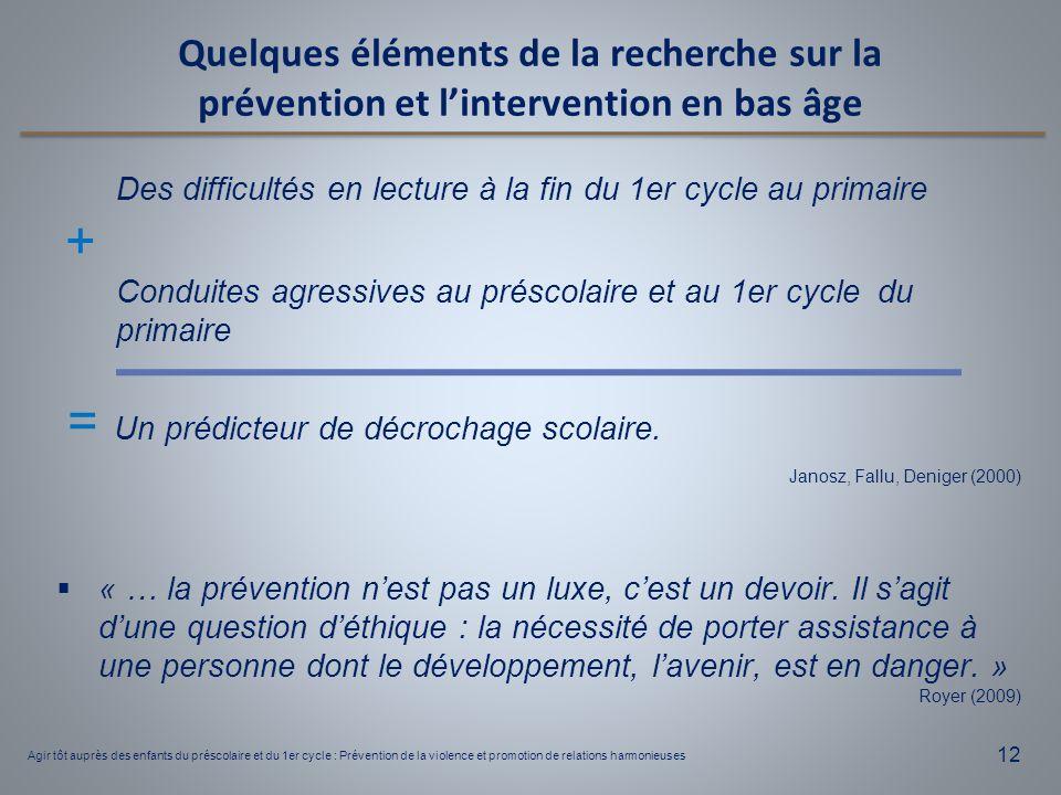 12 Des difficultés en lecture à la fin du 1er cycle au primaire + Conduites agressives au préscolaire et au 1er cycle du primaire = Un prédicteur de d