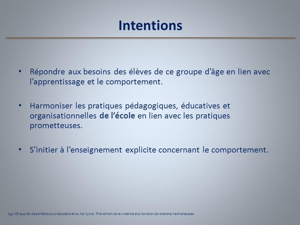 Intentions Répondre aux besoins des élèves de ce groupe d'âge en lien avec l'apprentissage et le comportement. Harmoniser les pratiques pédagogiques,