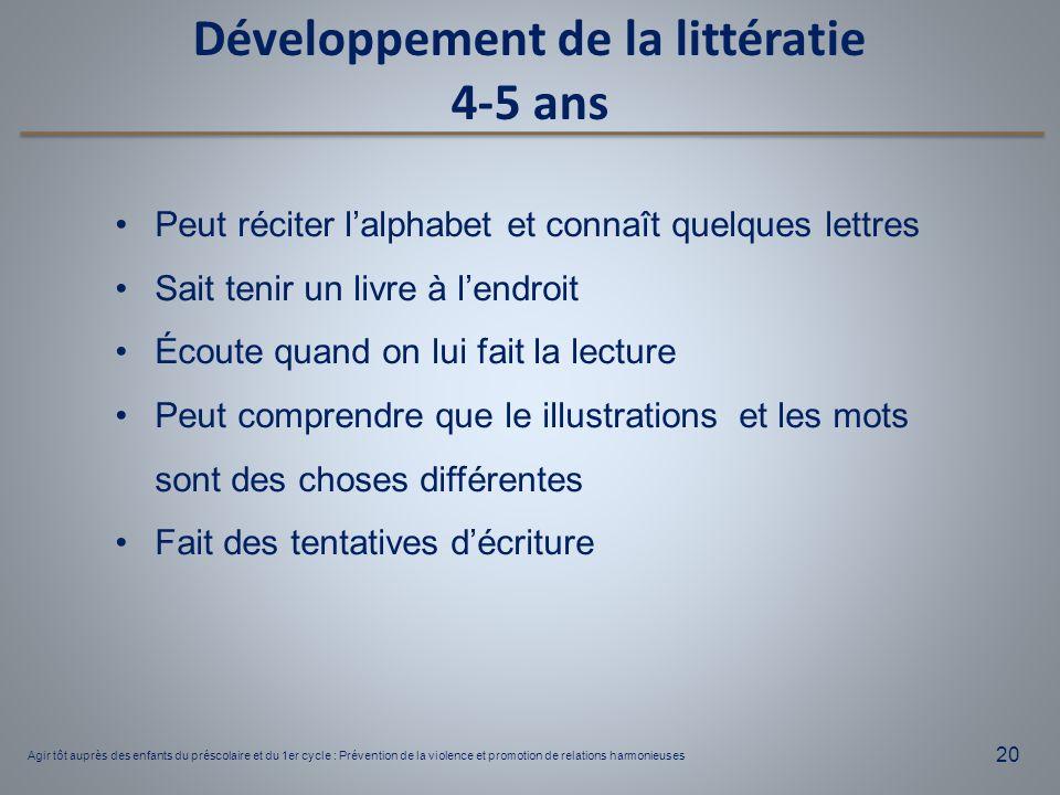 20 Développement de la littératie 4-5 ans Peut réciter l'alphabet et connaît quelques lettres Sait tenir un livre à l'endroit Écoute quand on lui fait