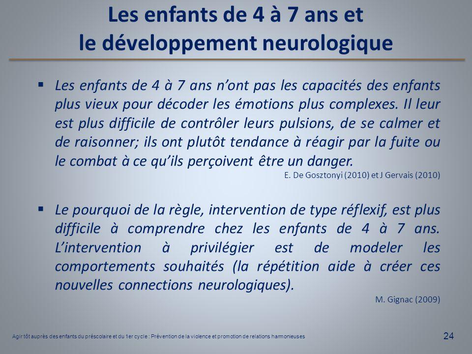 24  Les enfants de 4 à 7 ans n'ont pas les capacités des enfants plus vieux pour décoder les émotions plus complexes. Il leur est plus difficile de c