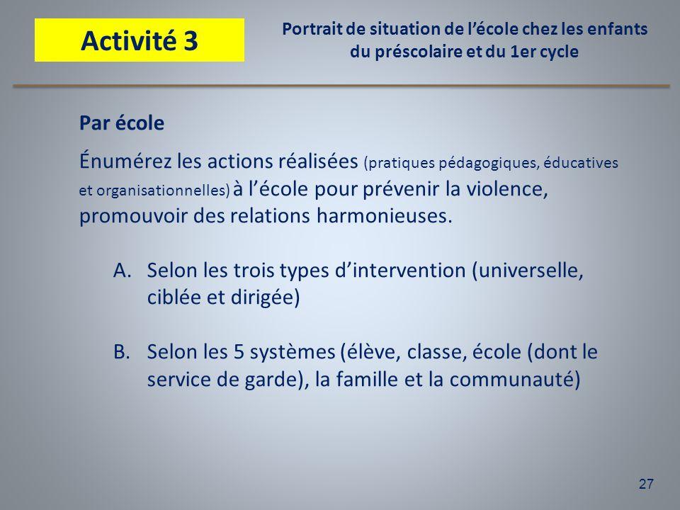 27 Par école Énumérez les actions réalisées (pratiques pédagogiques, éducatives et organisationnelles) à l'école pour prévenir la violence, promouvoir
