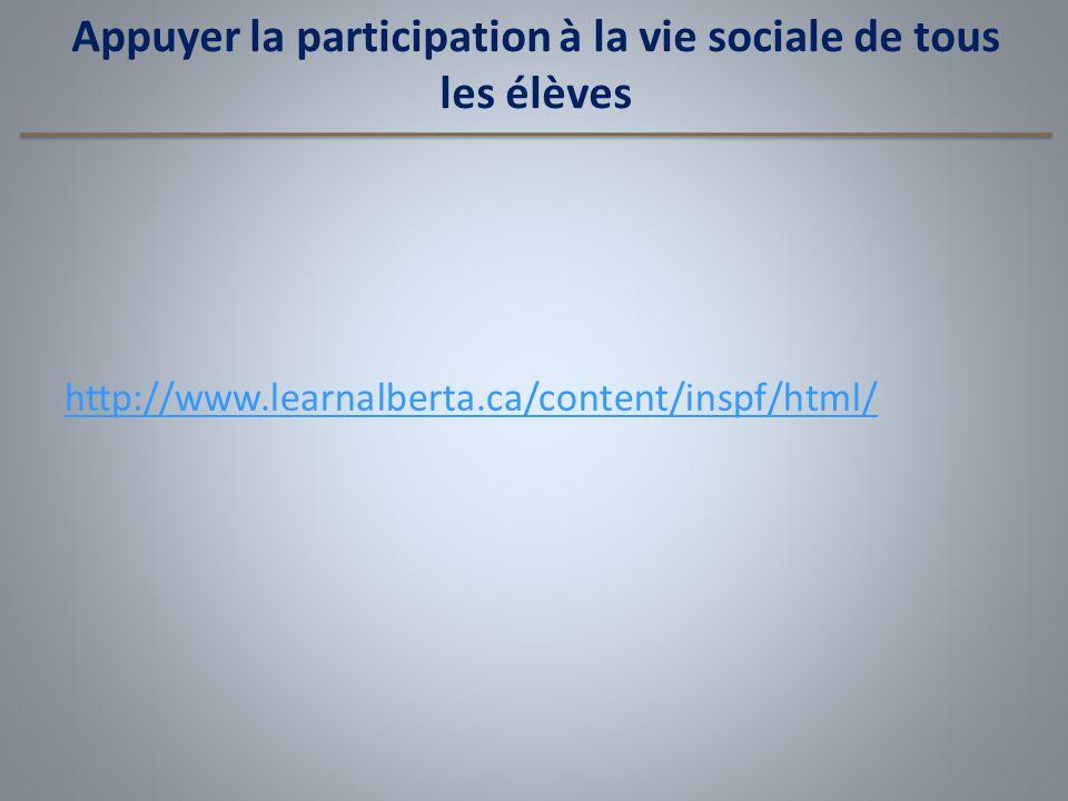 Appuyer la participation à la vie sociale de tous les élèves http://www.learnalberta.ca/content/inspf/html/