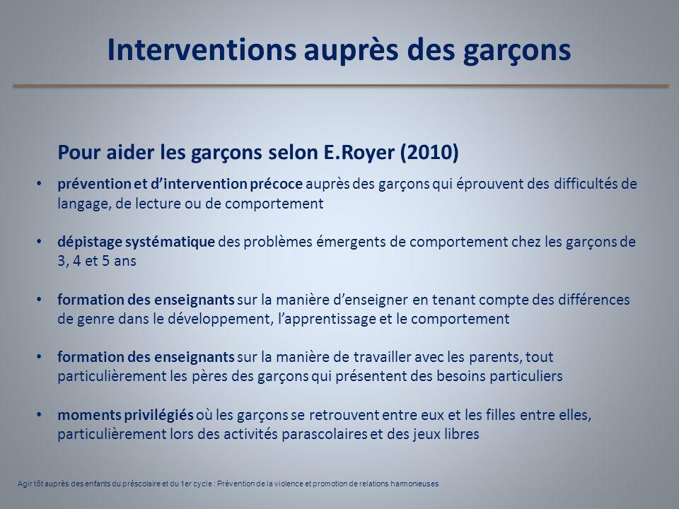 Interventions auprès des garçons Pour aider les garçons selon E.Royer (2010) prévention et d'intervention précoce auprès des garçons qui éprouvent des