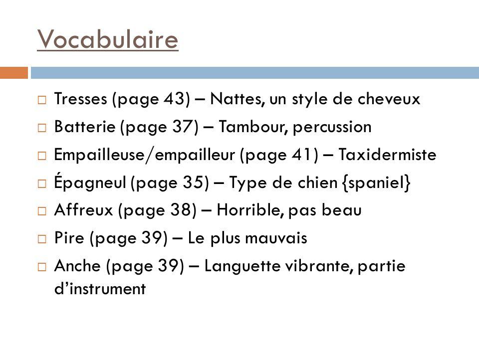 Vocabulaire  Tresses (page 43) – Nattes, un style de cheveux  Batterie (page 37) – Tambour, percussion  Empailleuse/empailleur (page 41) – Taxiderm