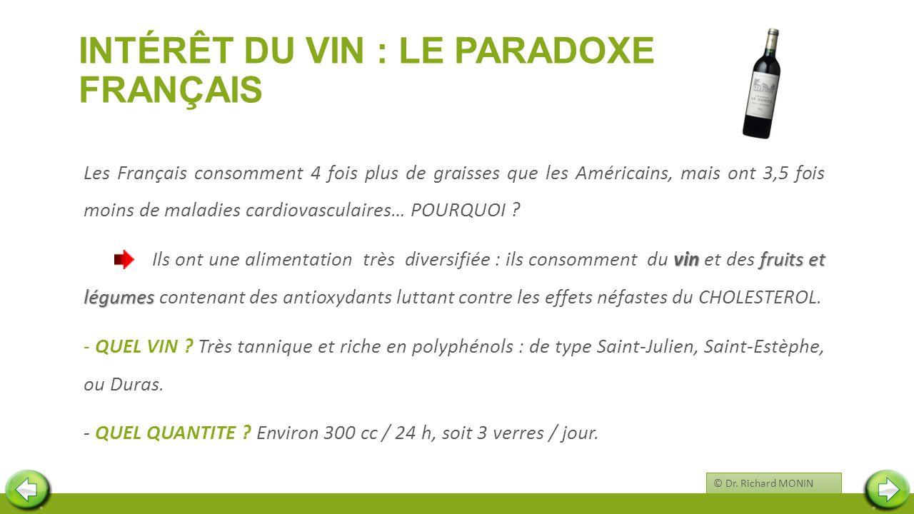 INTÉRÊT DU VIN : LE PARADOXE FRANÇAIS Les Français consomment 4 fois plus de graisses que les Américains, mais ont 3,5 fois moins de maladies cardiova