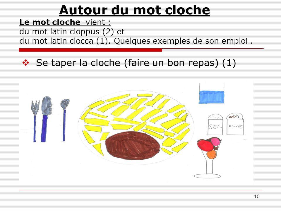 10  Se taper la cloche (faire un bon repas) (1) Autour du mot cloche Le mot cloche vient : du mot latin cloppus (2) et du mot latin clocca (1). Quelq