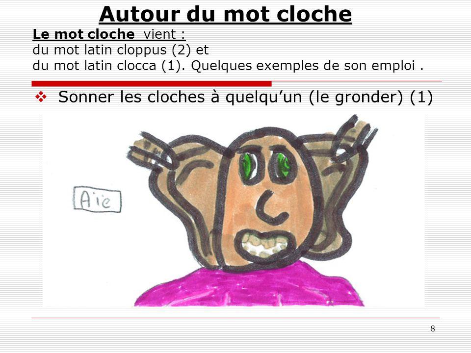 8  Sonner les cloches à quelqu'un (le gronder) (1) Autour du mot cloche Le mot cloche vient : du mot latin cloppus (2) et du mot latin clocca (1). Qu