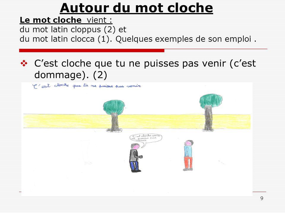 10  Se taper la cloche (faire un bon repas) (1) Autour du mot cloche Le mot cloche vient : du mot latin cloppus (2) et du mot latin clocca (1).