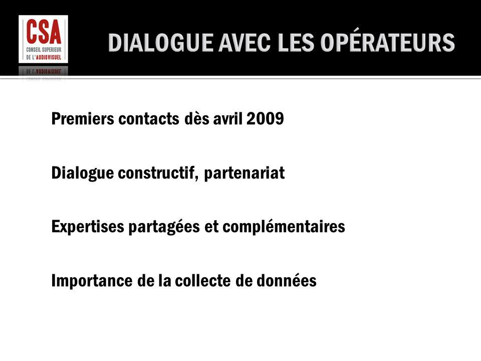 Premiers contacts dès avril 2009 Dialogue constructif, partenariat Expertises partagées et complémentaires Importance de la collecte de données
