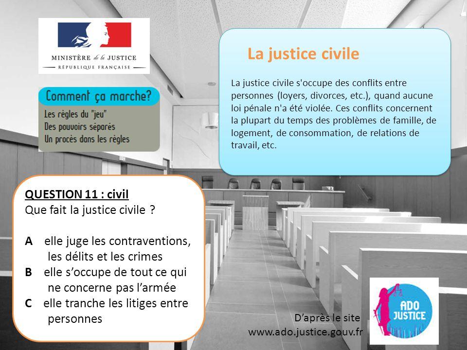 La justice civile La justice civile s occupe des conflits entre personnes (loyers, divorces, etc.), quand aucune loi pénale n a été violée.