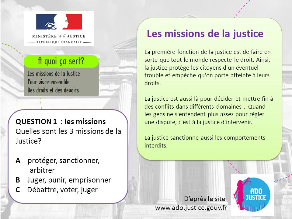 D'après le site www.ado.justice.gouv.fr QUESTION 32: les médiateurs Que font les médiateurs .