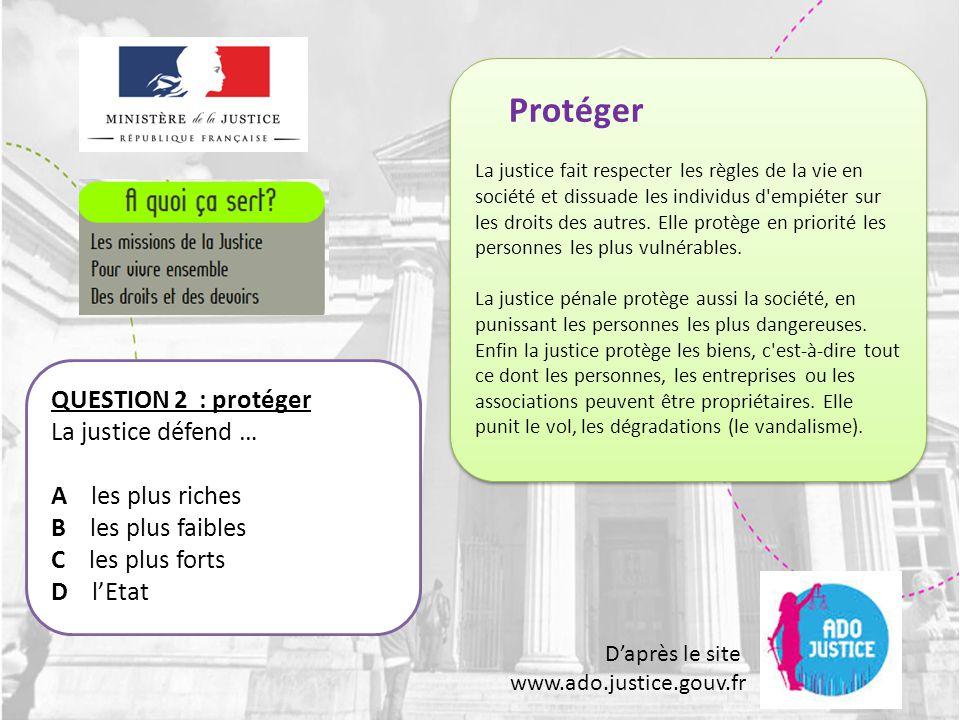 D'après le site www.ado.justice.gouv.fr QUESTION 33: les huissiers Que font les huissiers .