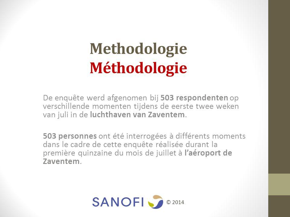 Methodologie Méthodologie De enquête werd afgenomen bij 503 respondenten op verschillende momenten tijdens de eerste twee weken van juli in de luchthaven van Zaventem.