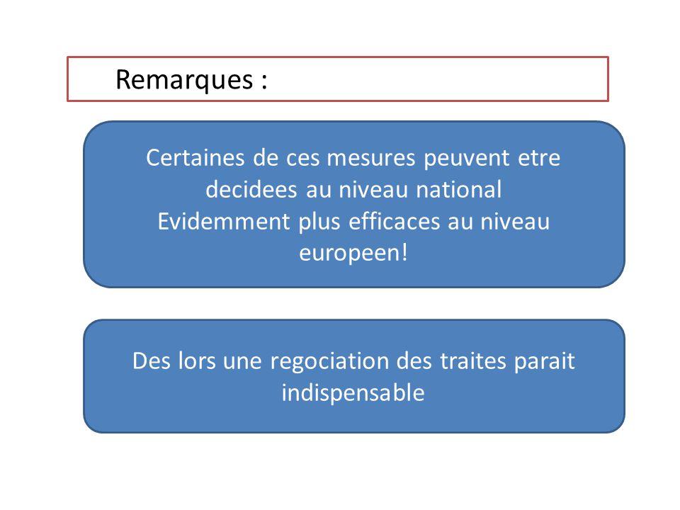 Remarques : Certaines de ces mesures peuvent etre decidees au niveau national Evidemment plus efficaces au niveau europeen! Des lors une regociation d
