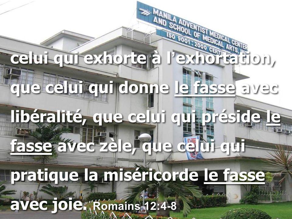 celui qui exhorte à l ' exhortation, que celui qui donne le fasse avec libéralité, que celui qui préside le fasse avec zèle, que celui qui pratique la