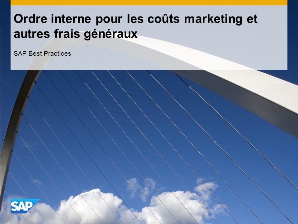 Ordre interne pour les coûts marketing et autres frais généraux SAP Best Practices