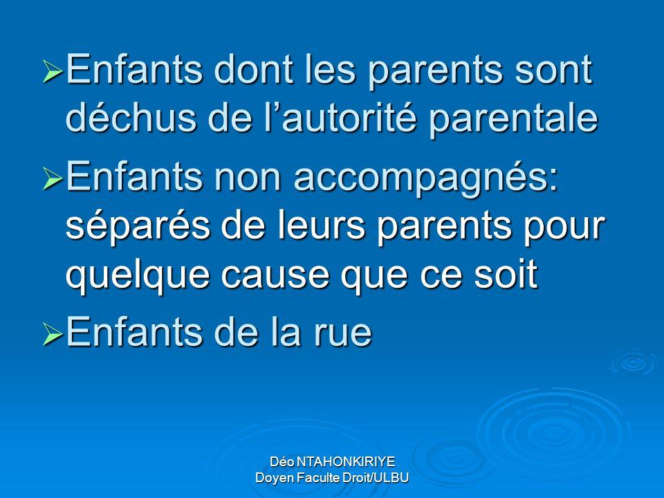 Déo NTAHONKIRIYE Doyen Faculte Droit/ULBU EEEEnfants dont les parents sont déchus de l'autorité parentale EEEEnfants non accompagnés: séparés
